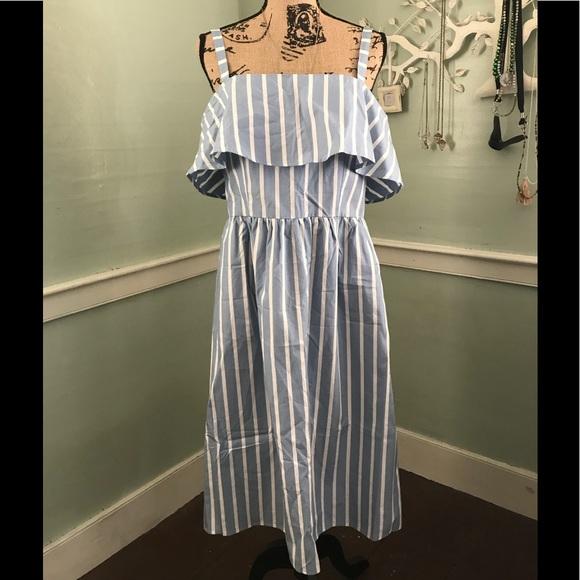 040f3ad330a9 JustFab Dresses | New Blue White Striped Midi Dress Xl | Poshmark